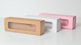 Kraft/White/Pink 6 Pk Slider Macaron Box