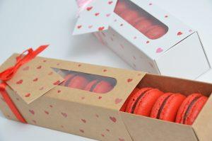 6pk Kraft heart Macaron box