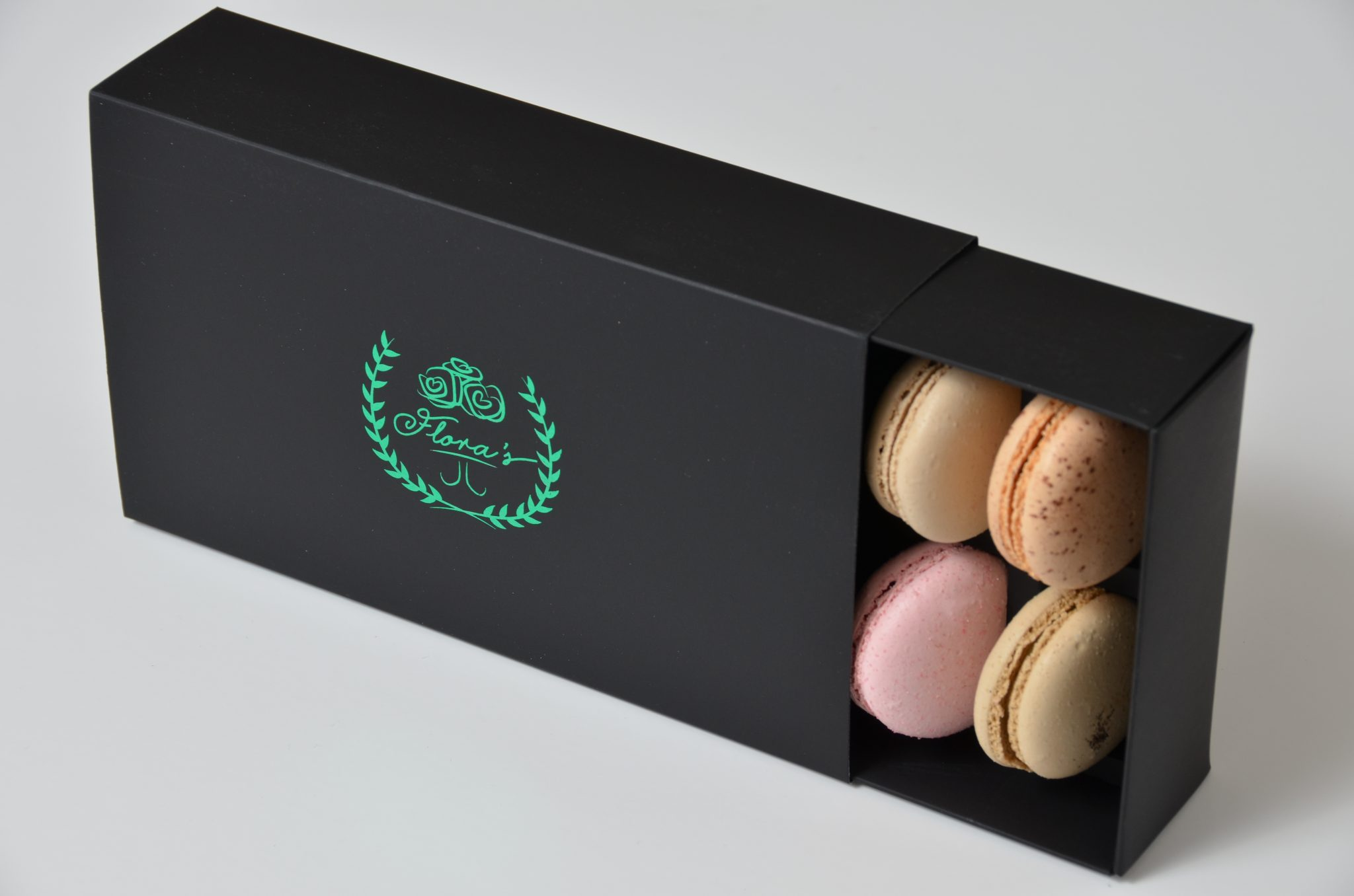 Black Print 12 Pk Slider Foiled Macaron Box on Matt Laminated Board