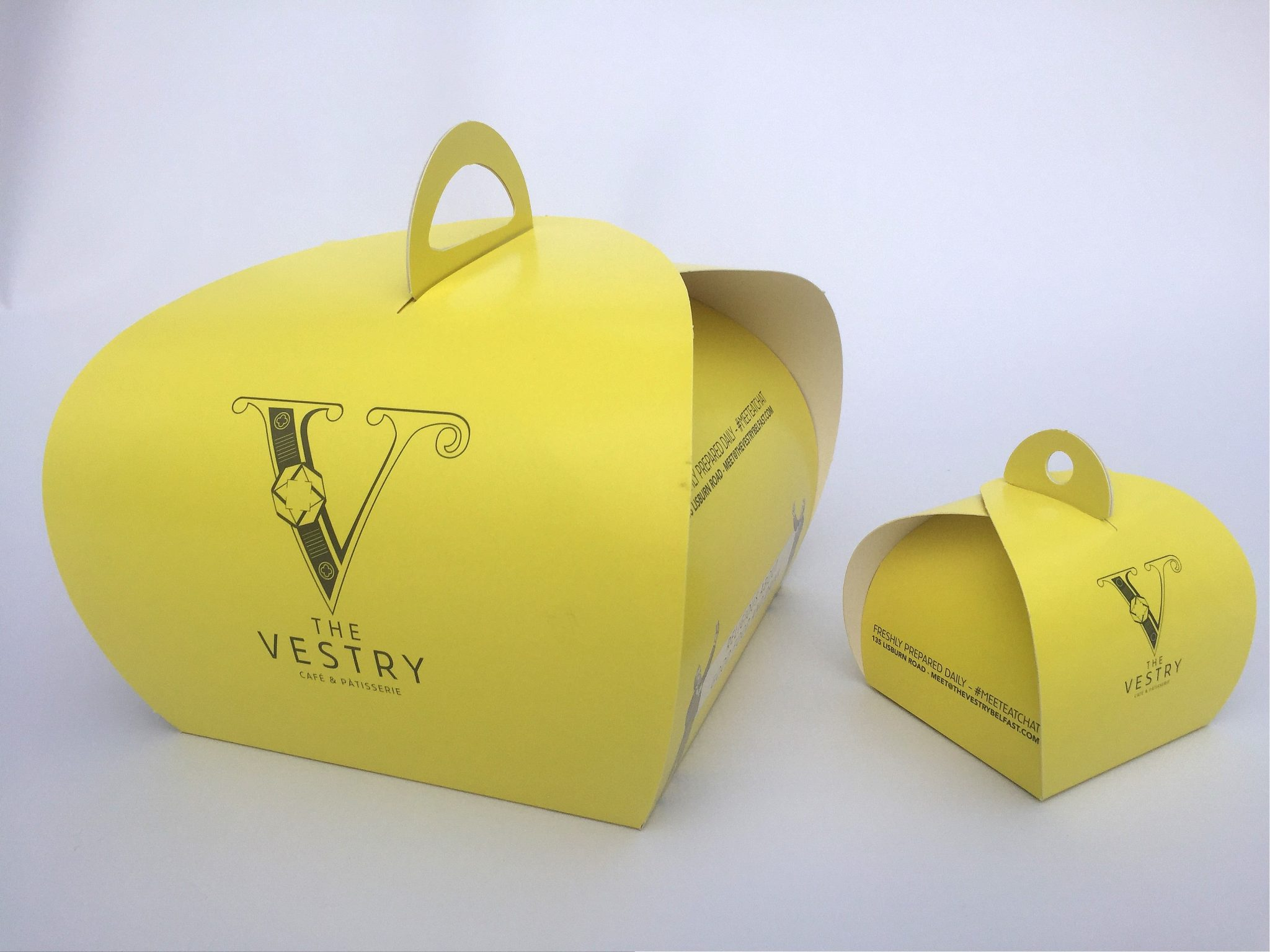 Bespoke Printed Single & 4 Pk Patisserie Boxes & Tags