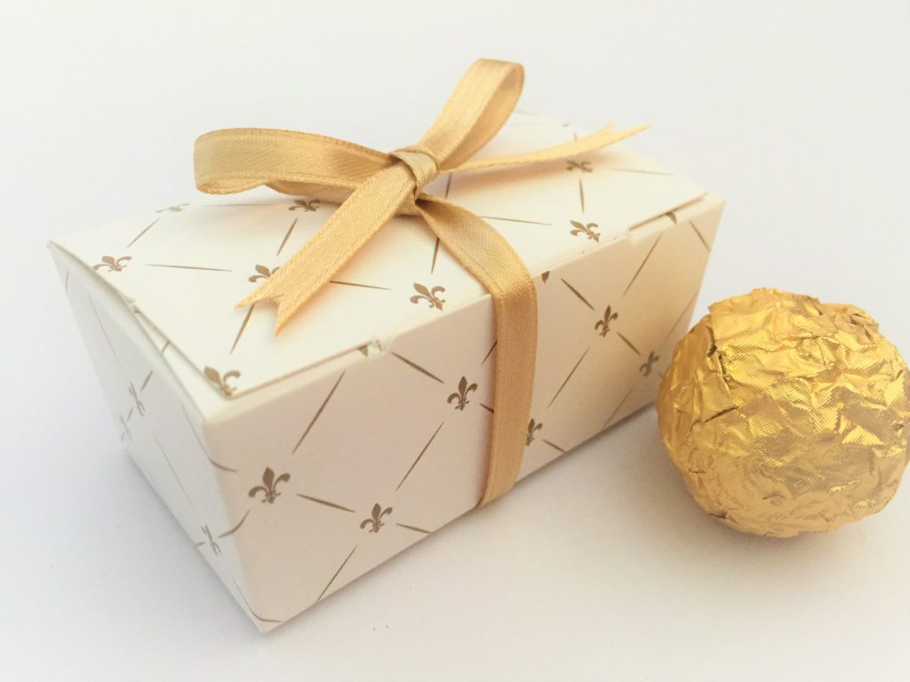 Gold Patterned Tapered Truffle Box