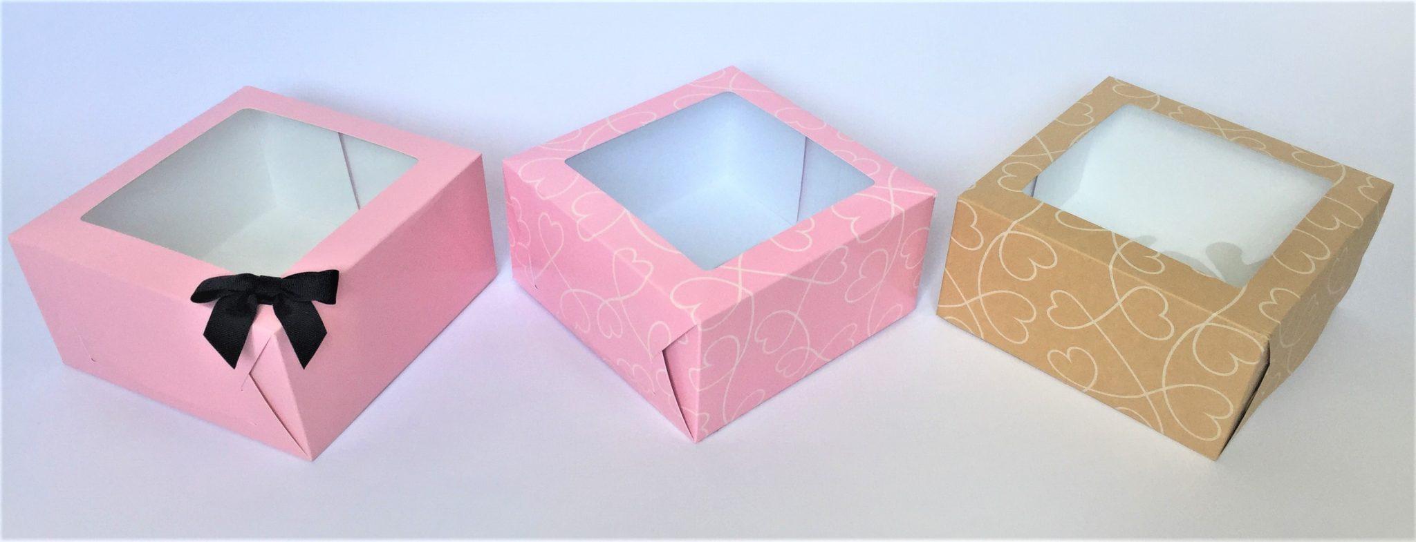 Plain Pink, Pink printed & kraft printed cake boxes
