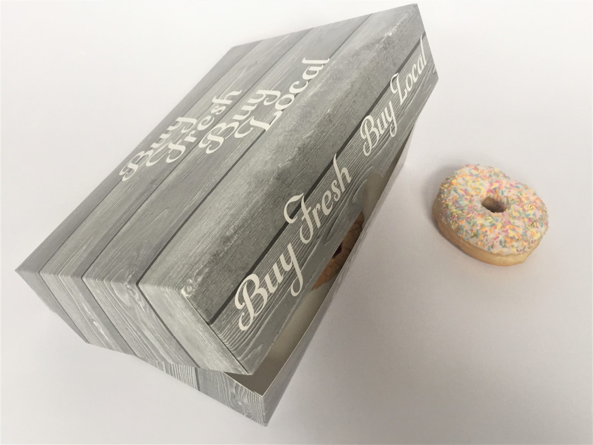 "Home Grown Range ""Buy Fresh Buy Local"" 6 Pack Donut Box"