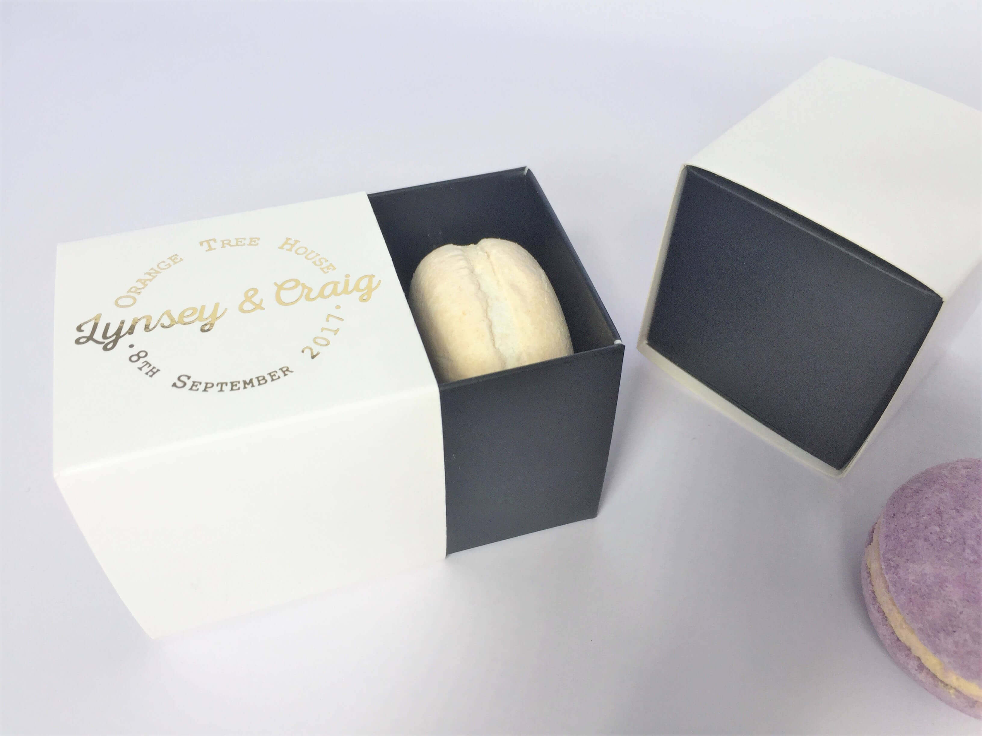 2 Pack Macaron, Candle, Soap Favour Box with Foiled Monogram