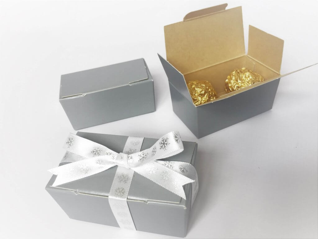 Plain Grey Print Double Truffle Box