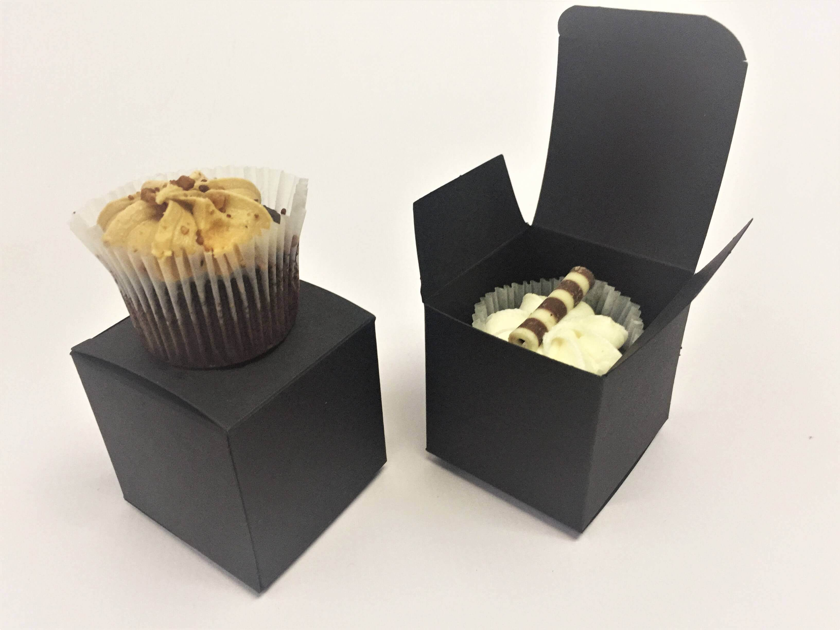 Cube Mini CupCake Box in black board