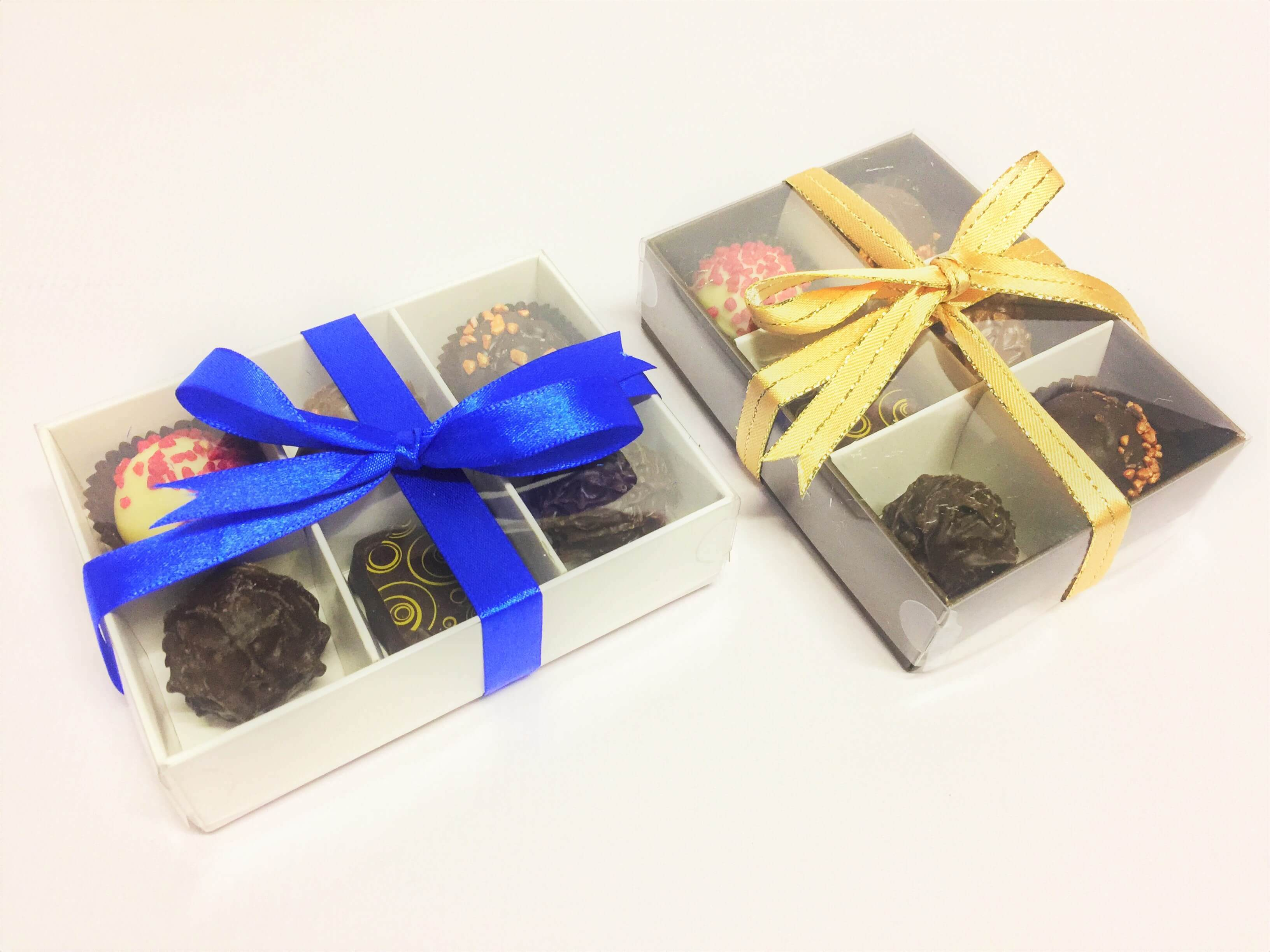 Base & Plastic Lid 6 Pack Truffle/Chocolate Box with Insert