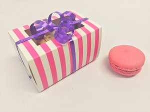 Large 2 Pack Macaron Base & Sleeve Slider Packaging with window and pink stripe print