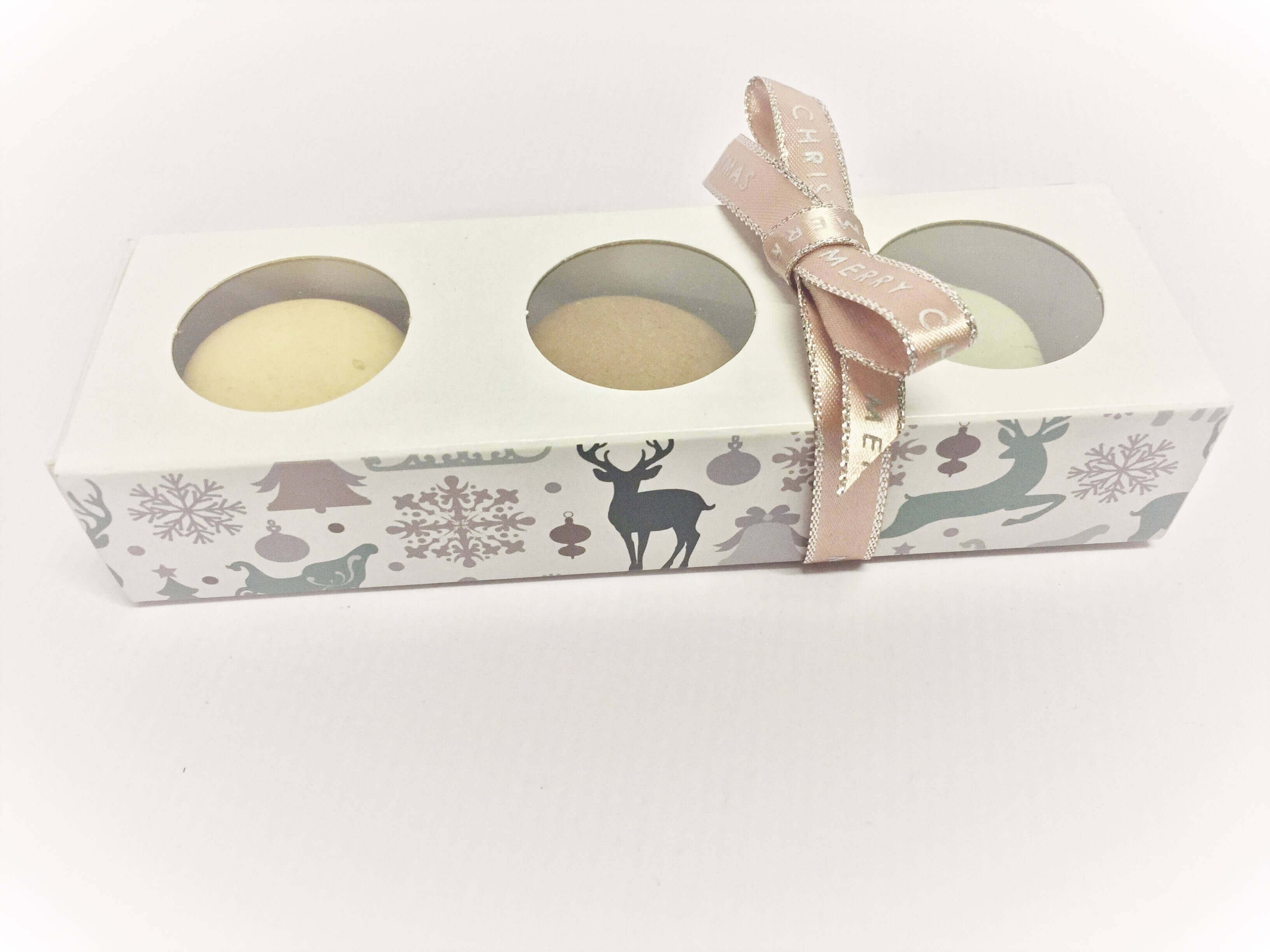 3 Pack Compact Macaron Box with Generic Christmas Print, Windowed