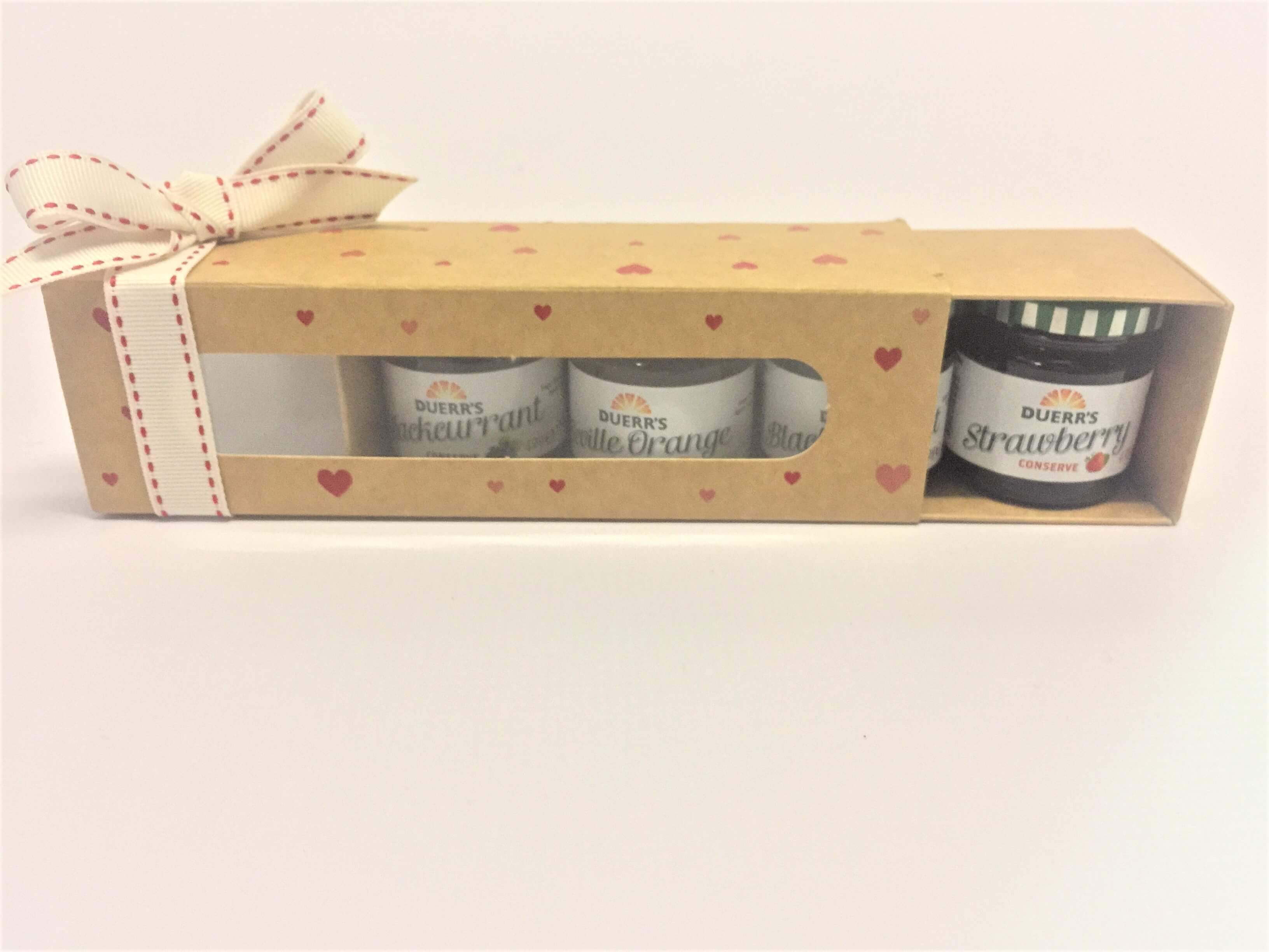Kraft Printed Heart Windowed 6 Pack Macaron Boxes also fit 4 mini jam jars