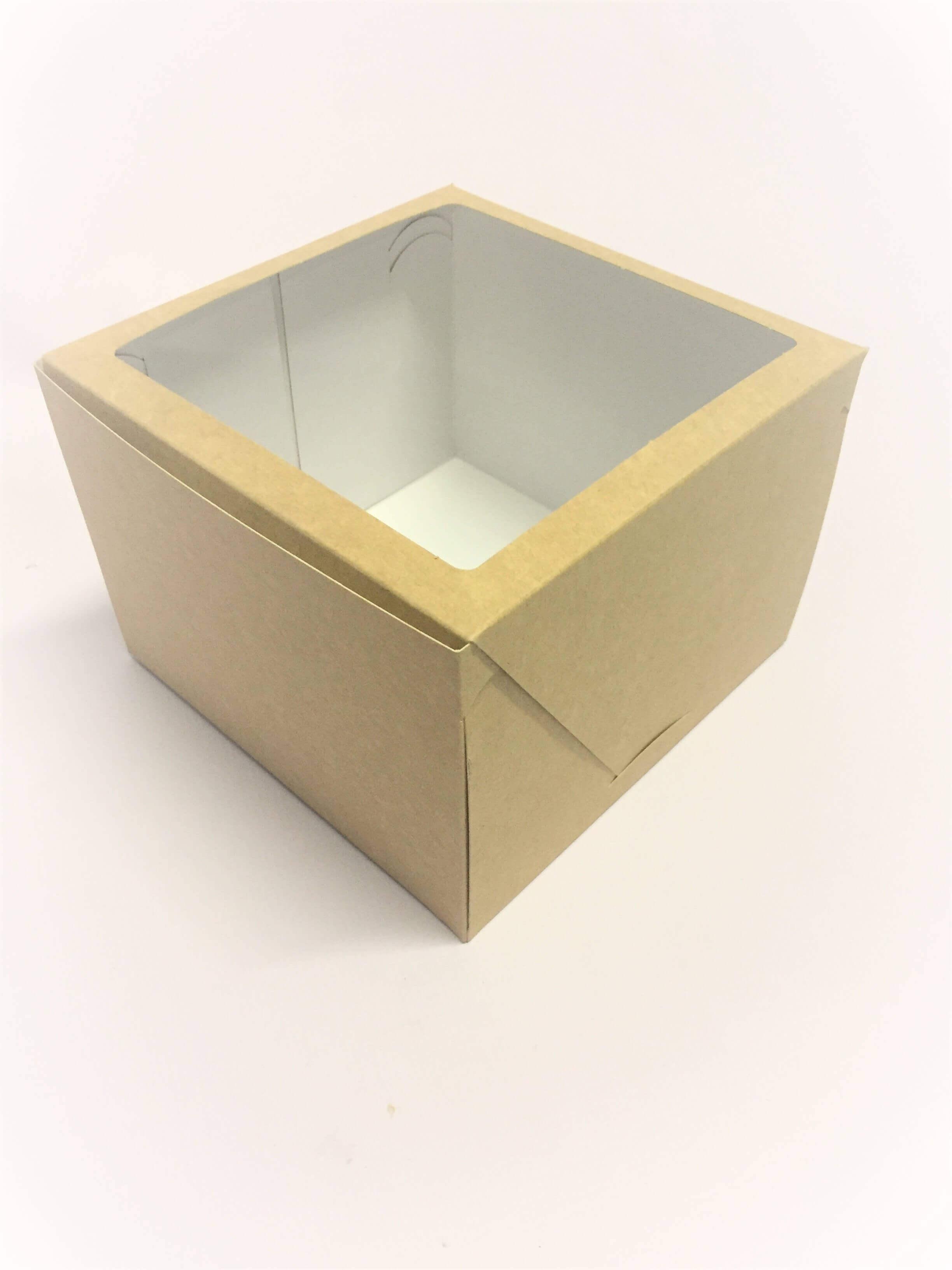 Tall Kraft Windowed Cake Box