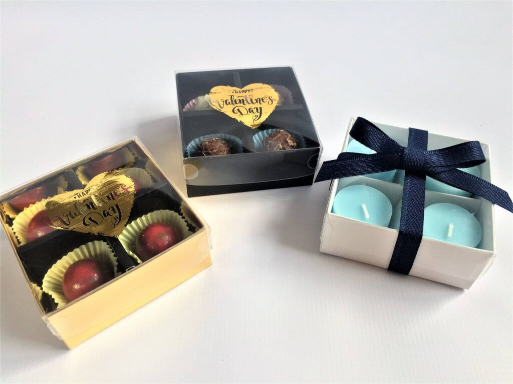 Base & Lid 4 Pack Truffle Box, shown with generic foiling option various colours of Base & L