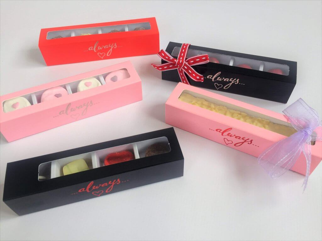 "Generic Print with Foiling ""Always"" 4 Pack Long Truffle Slider Box with Insert"