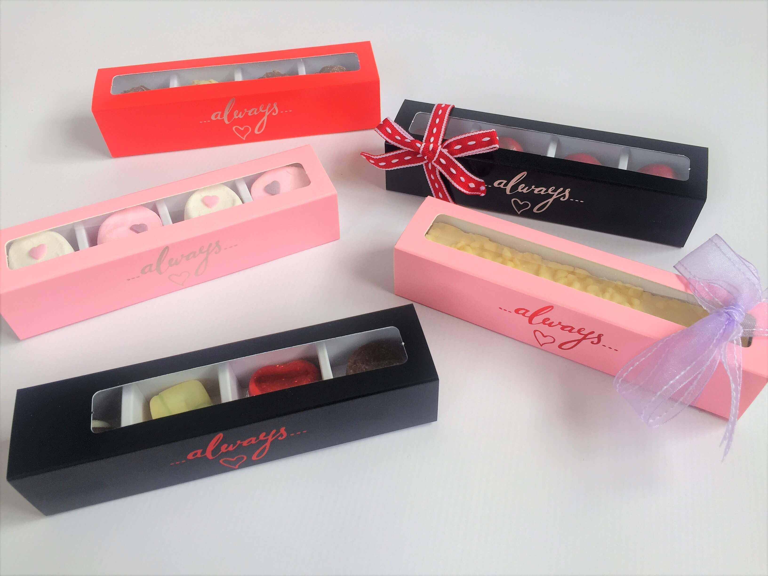 "4 Pack Long Truffle Box with generic foiling ""Always"" Plain aslso available"