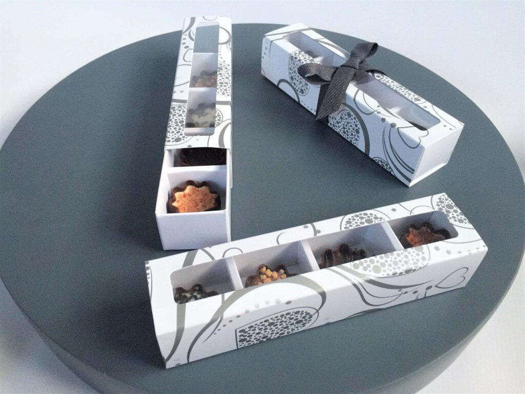Base & Sleeve Box Windowed 4 Pack Truffle Box with 4 Cavity Insert