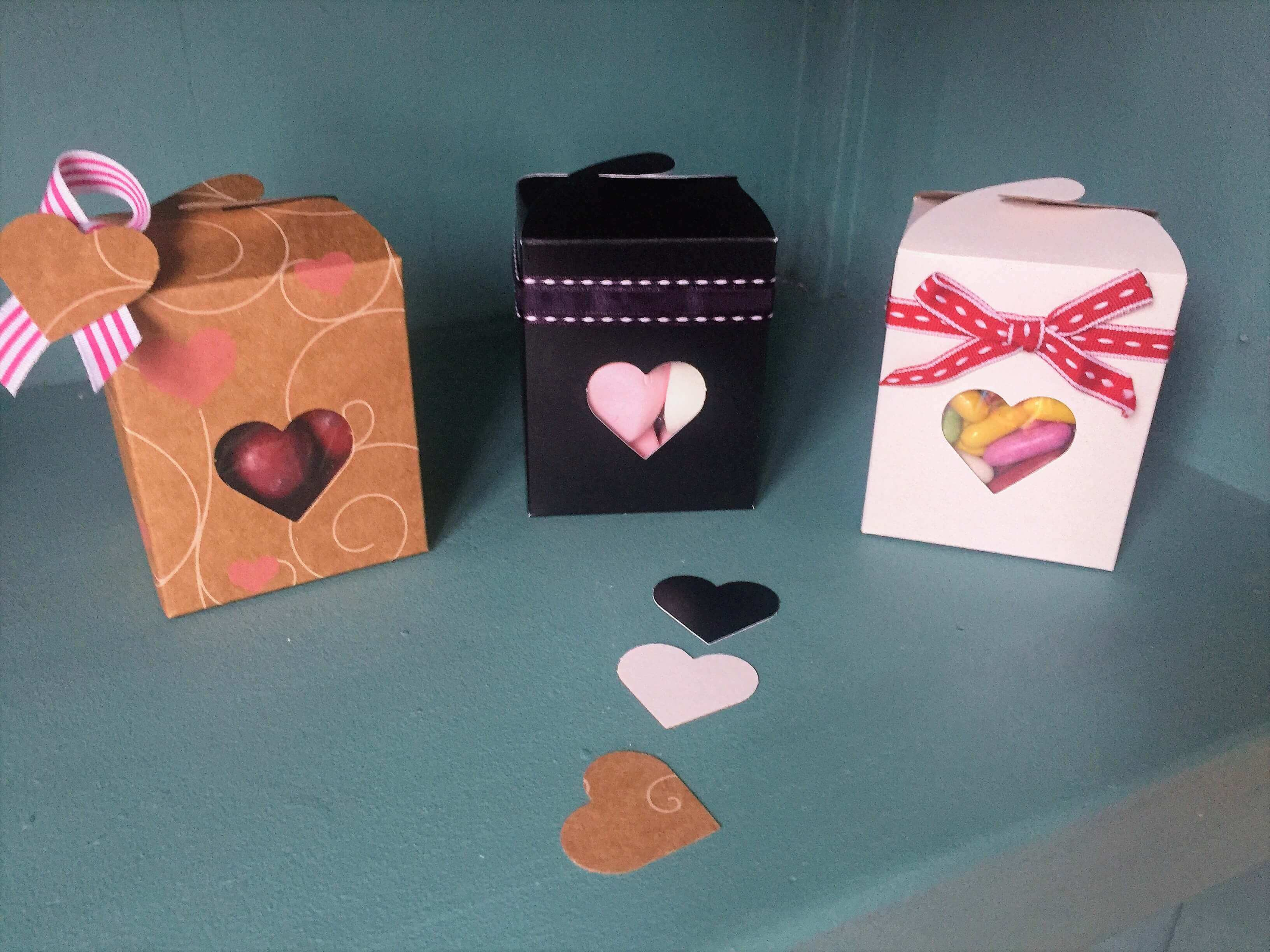 Kraft heart, black, white fudge butterfly close boxes with heart window