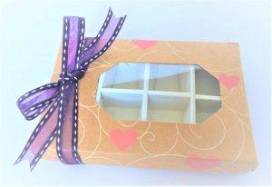 Windowed Kraft 8 Pack Truffle Base & Lid Box with heart print & insert