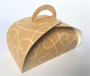 Patisserie Box 4 Kraft with Heart Print