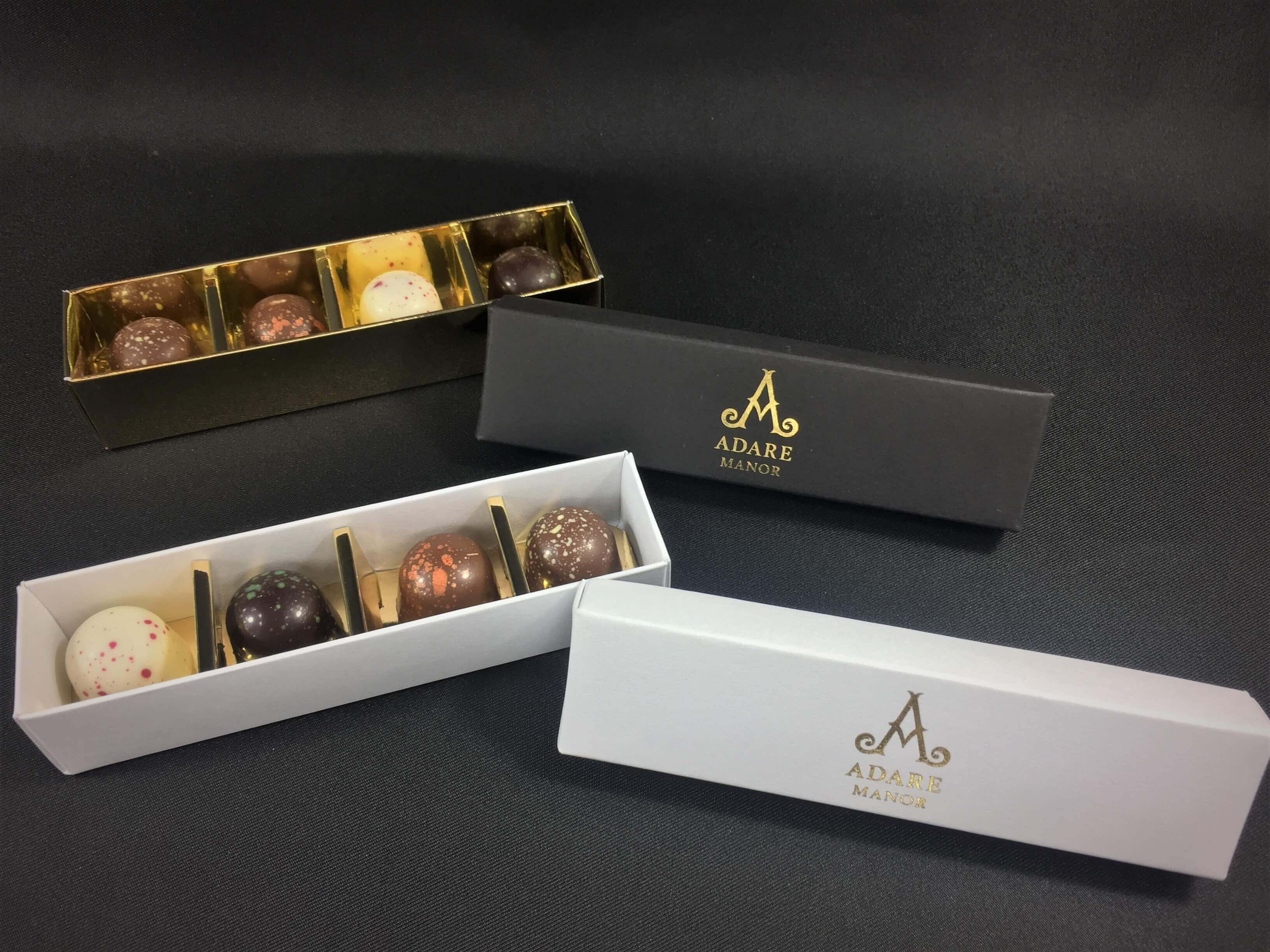 Base & Lid 4 Pack Truffle Box with inset, shown with bespoke foiling