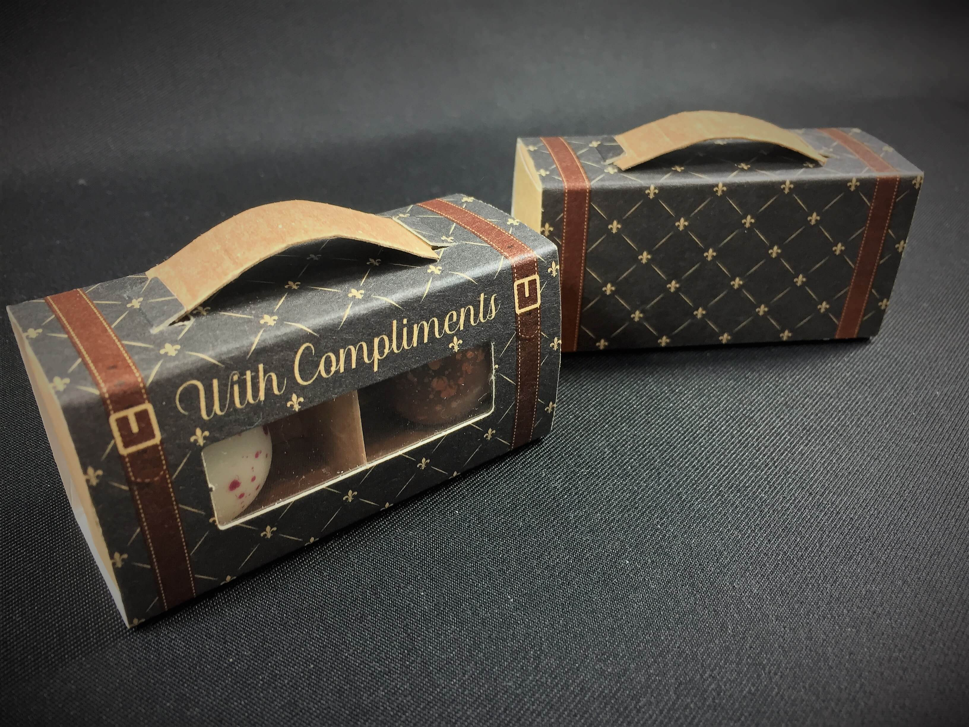 Base & Sleeve Windowed 2 Pack Confectionary Box in Generic Suitcase Print