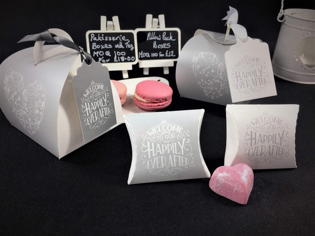 "Heart Print Favours with ""Happily Ever After"" tags & Pillow Packs"