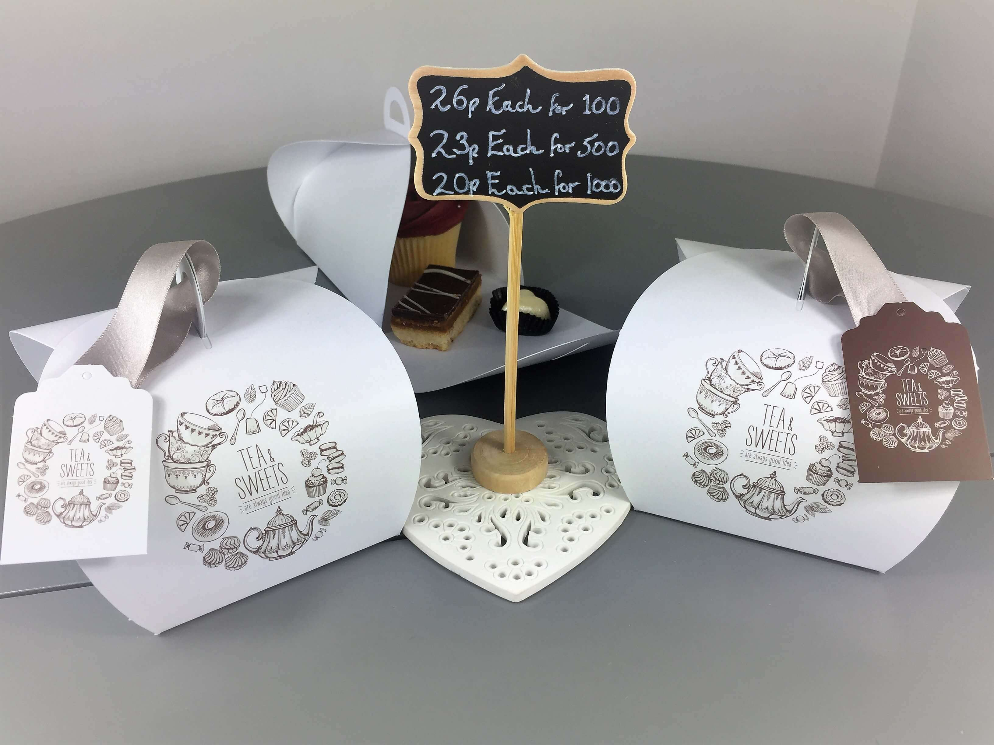 Tea & Sweets Patisserie Box with matching Tag
