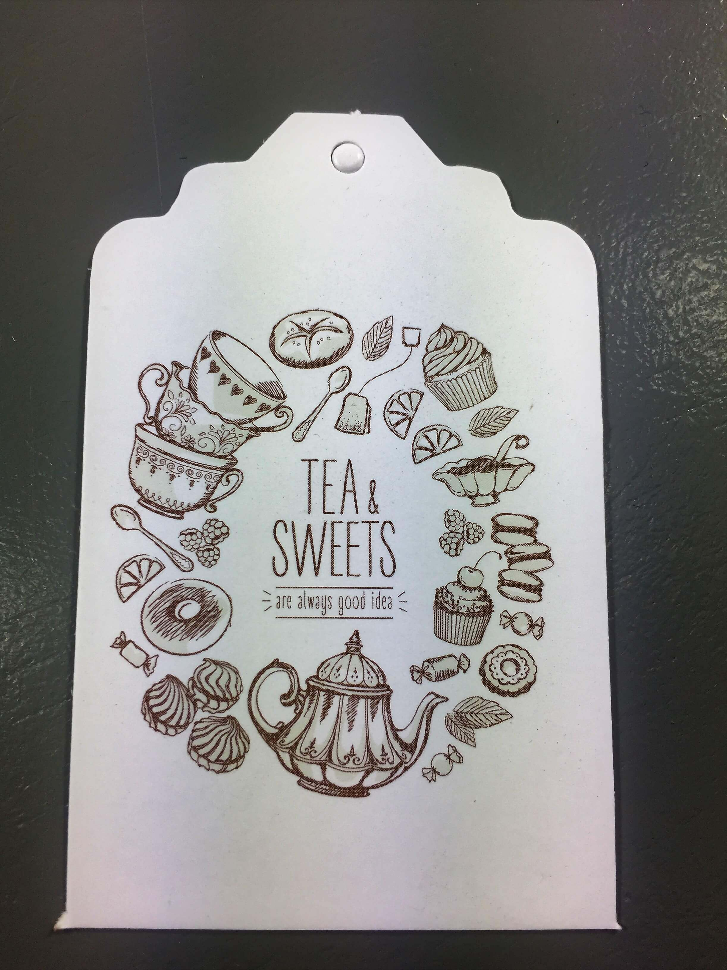 Tea & Sweets - White with Brown Text
