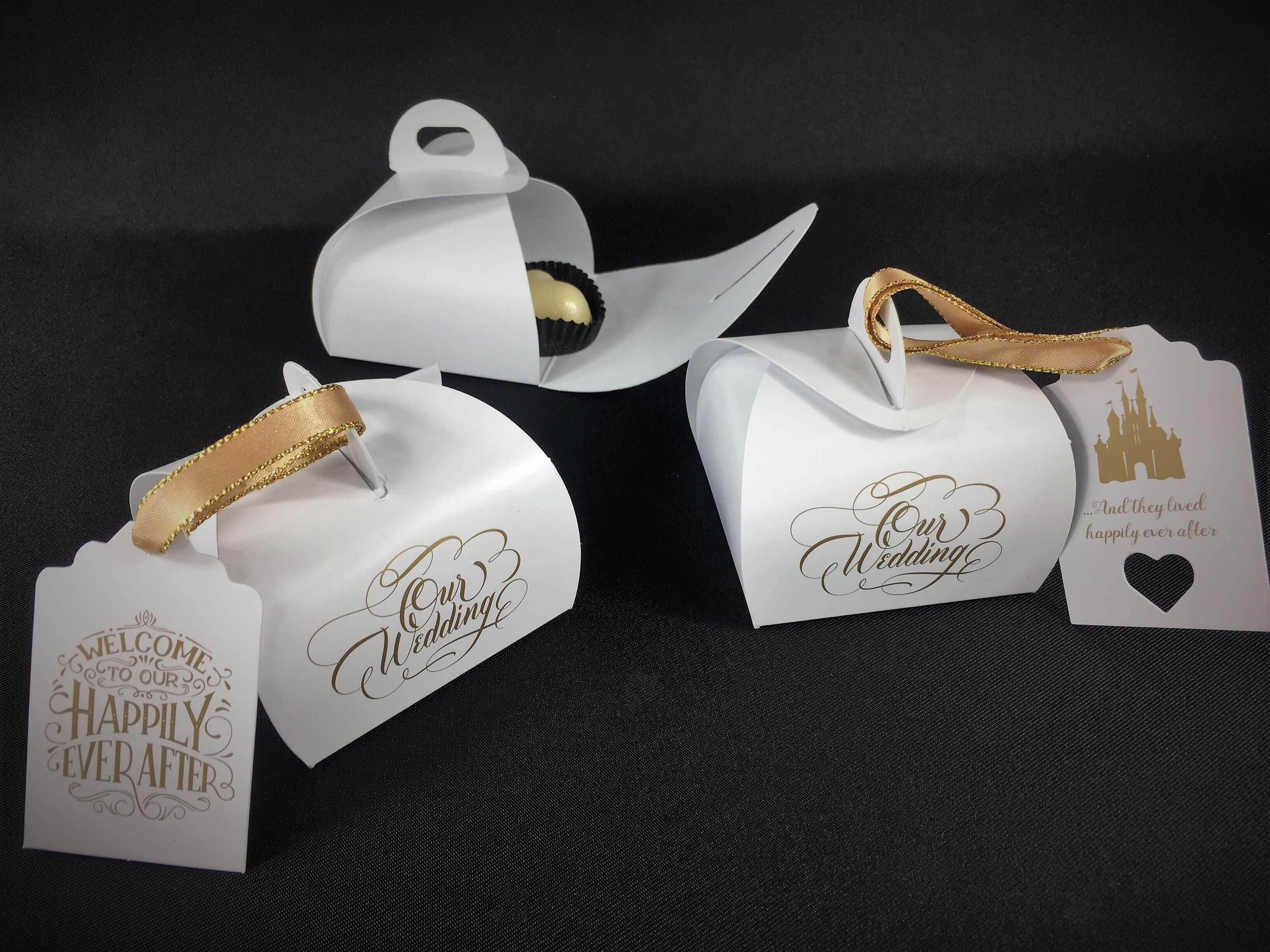 """Our Wedding"" Print mini patisserie favour boxes, various tags available"