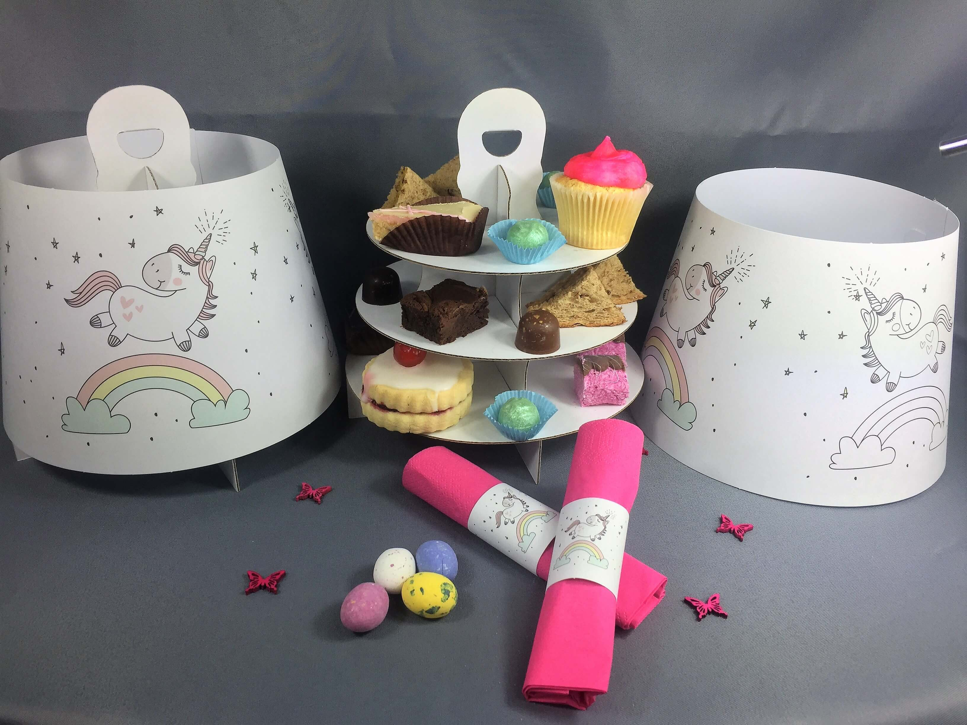Unicorn Themed 3 Tier Afternoon Take Home Caddy