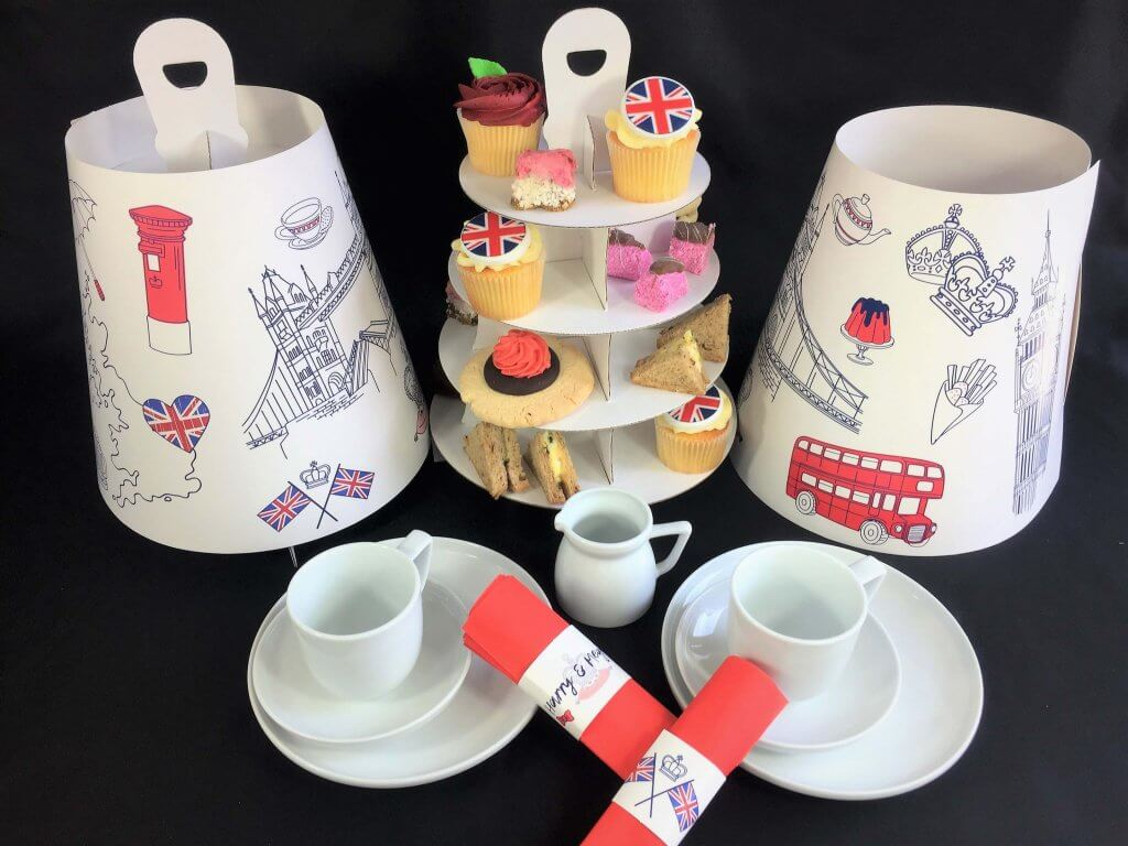 London Themed 4 Tier Afternoon Take Home Caddy