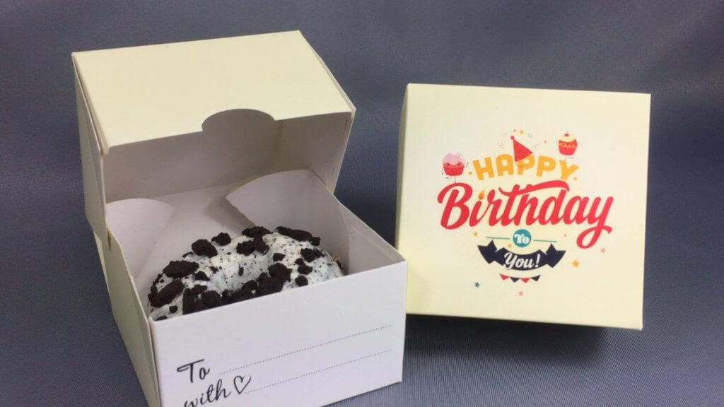 Cream Happy Birthday Single Donut Gift Box