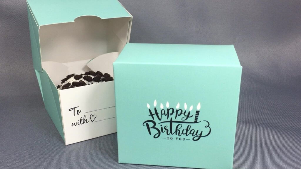Mint Happy Birthday Single Donut Gift Box