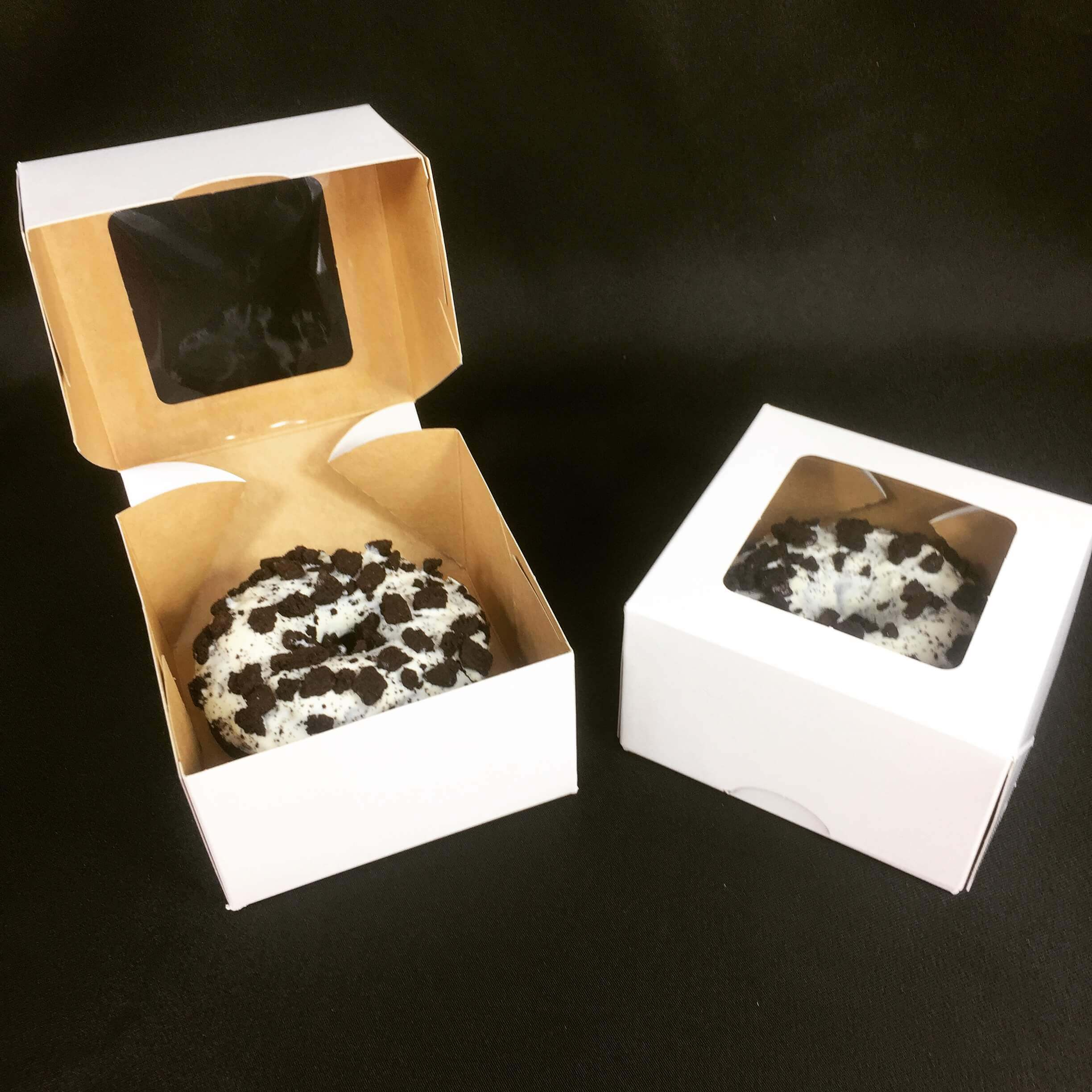 100% Compostable White Windowed Single Donut Box