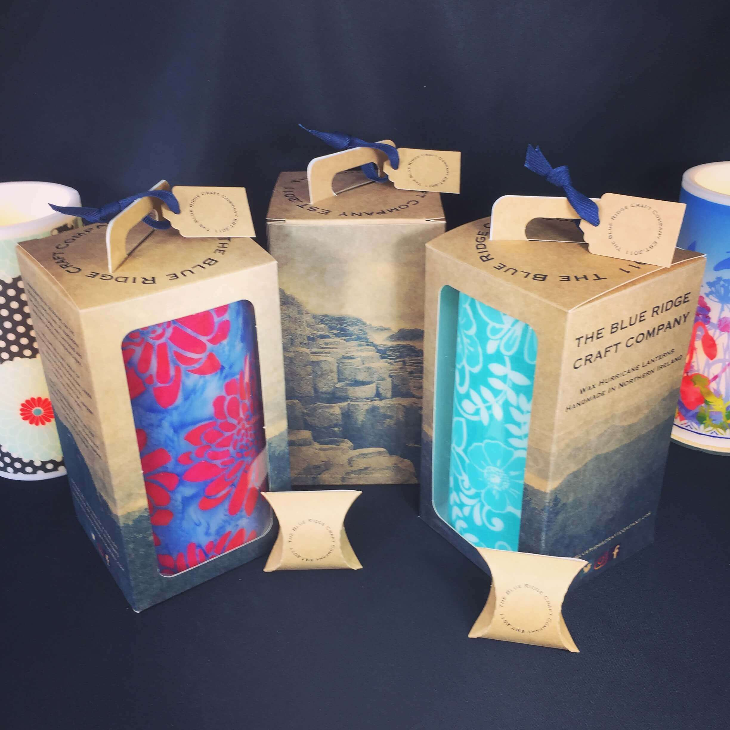 Kraft with Bespoke Print Windowed Large Lantern Box with matching Gift Tag & Pillow Pack