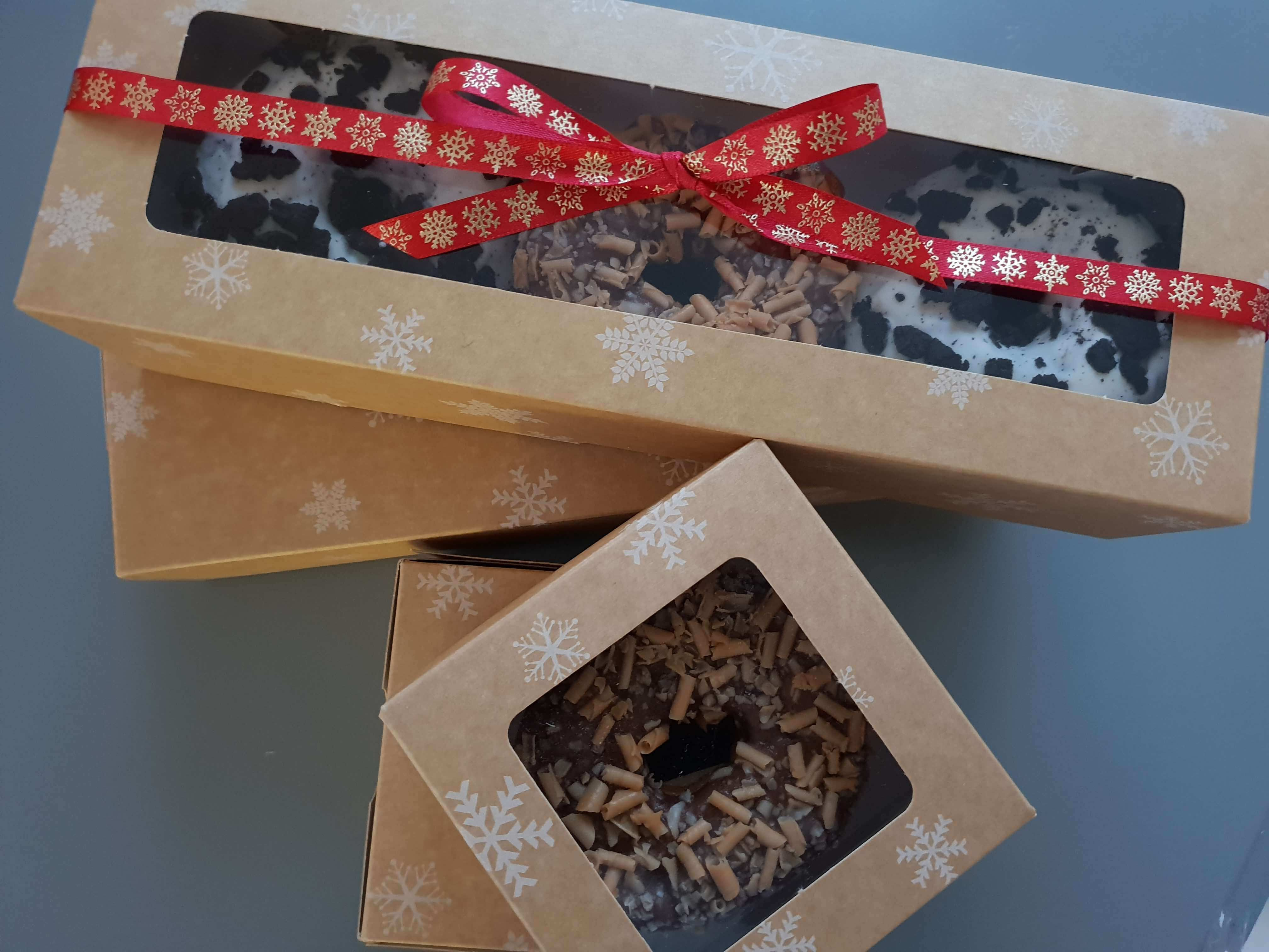 Fully Compostable Single & 3 Pack Donut Box inc Compostable Window