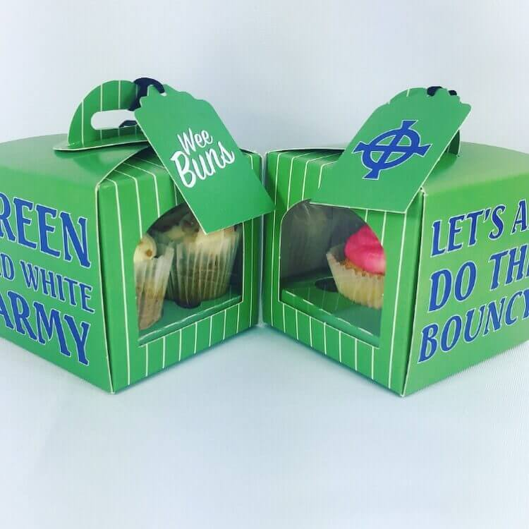 "Northern Ireland Themed ""Green and White Army"" Cup Cake Boxes with insert & tag"