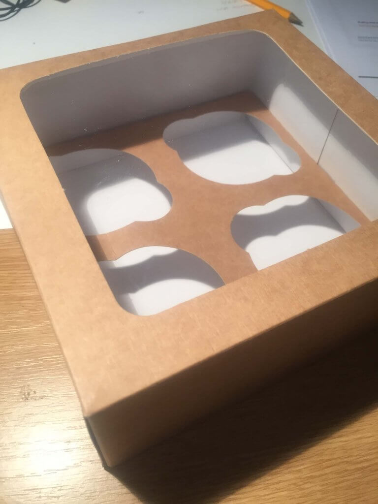4 Pack Plain Kraft  Cup Cake Box with insert also available without window