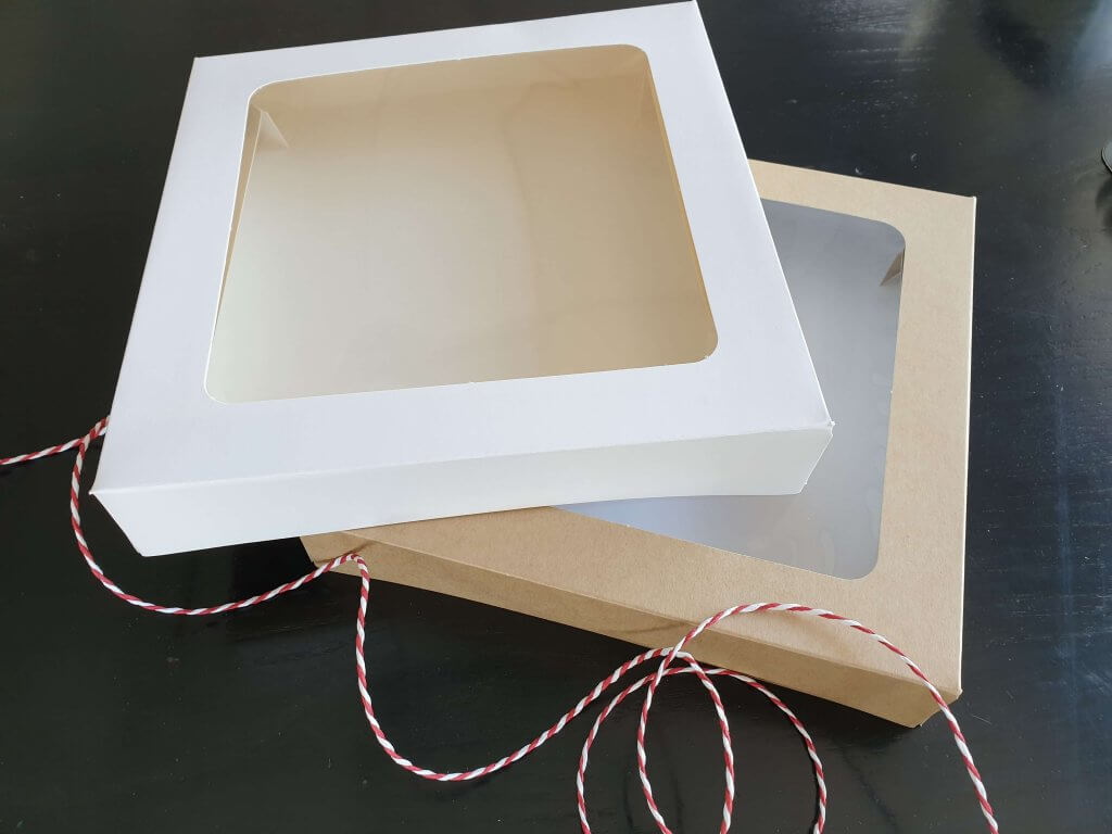 "8 x 8 x 1.5"" Large Cookie / Tart / Pie Box Fully Compostable"