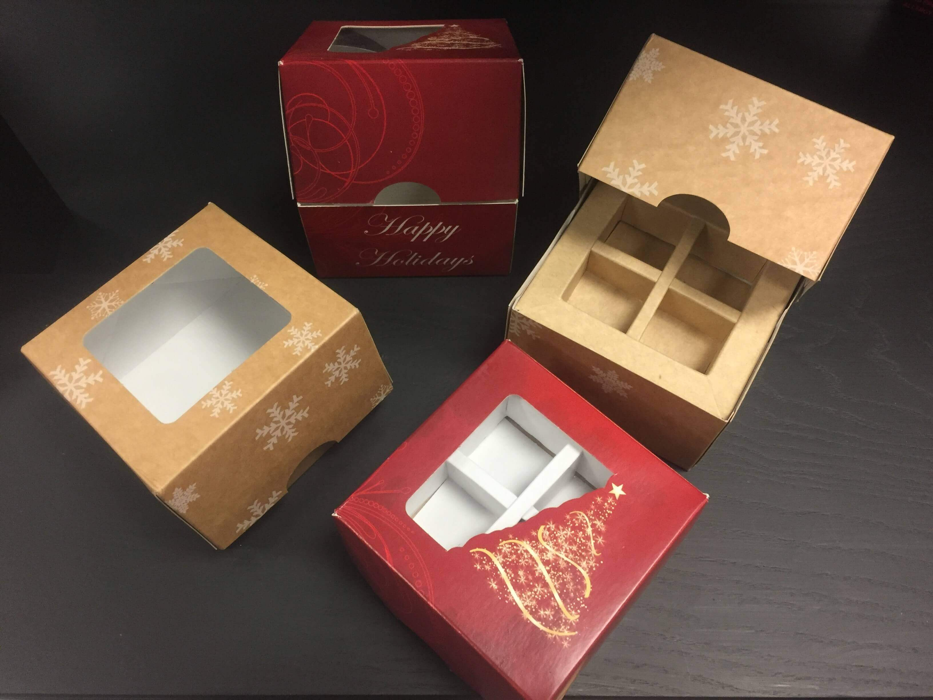 Christmas Print Single Donut Boxes
