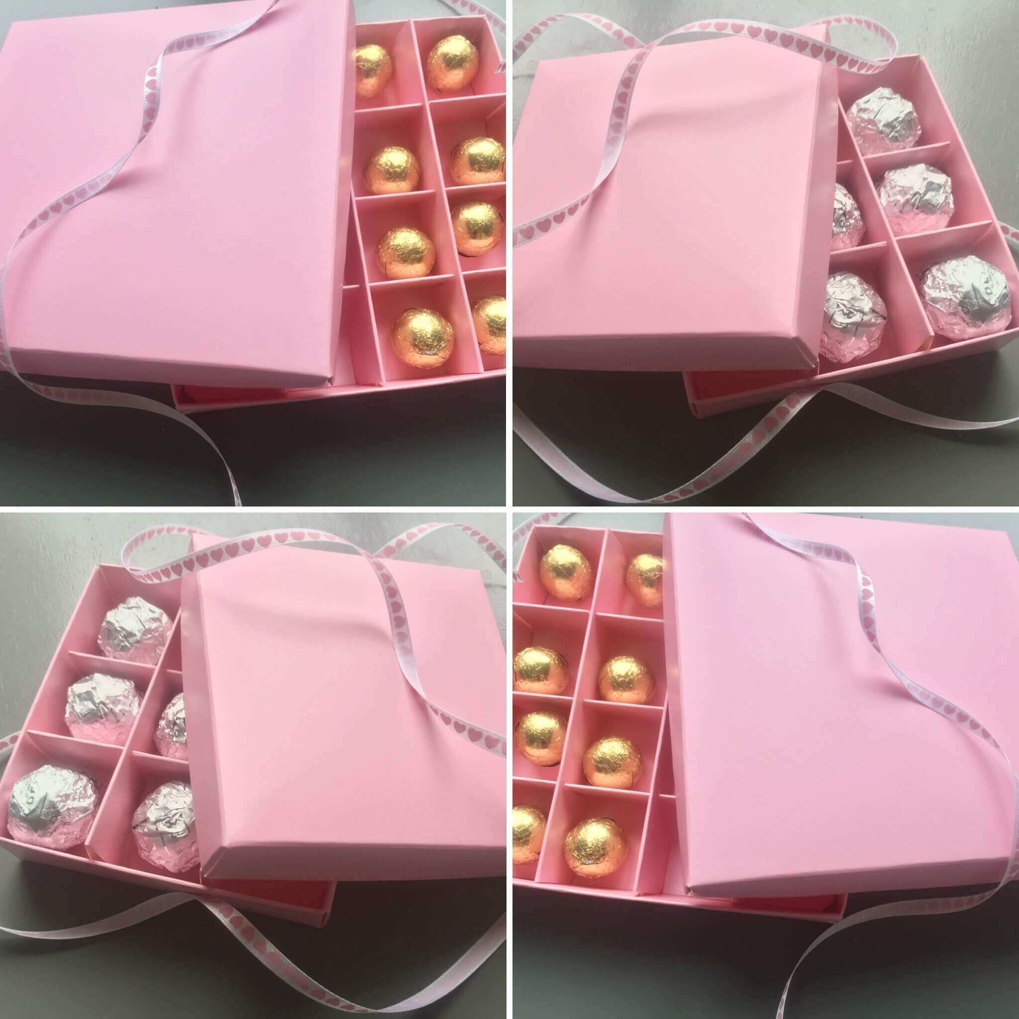9 & 16 Pack Confectionary Boxes in Pink with Pink Inserts