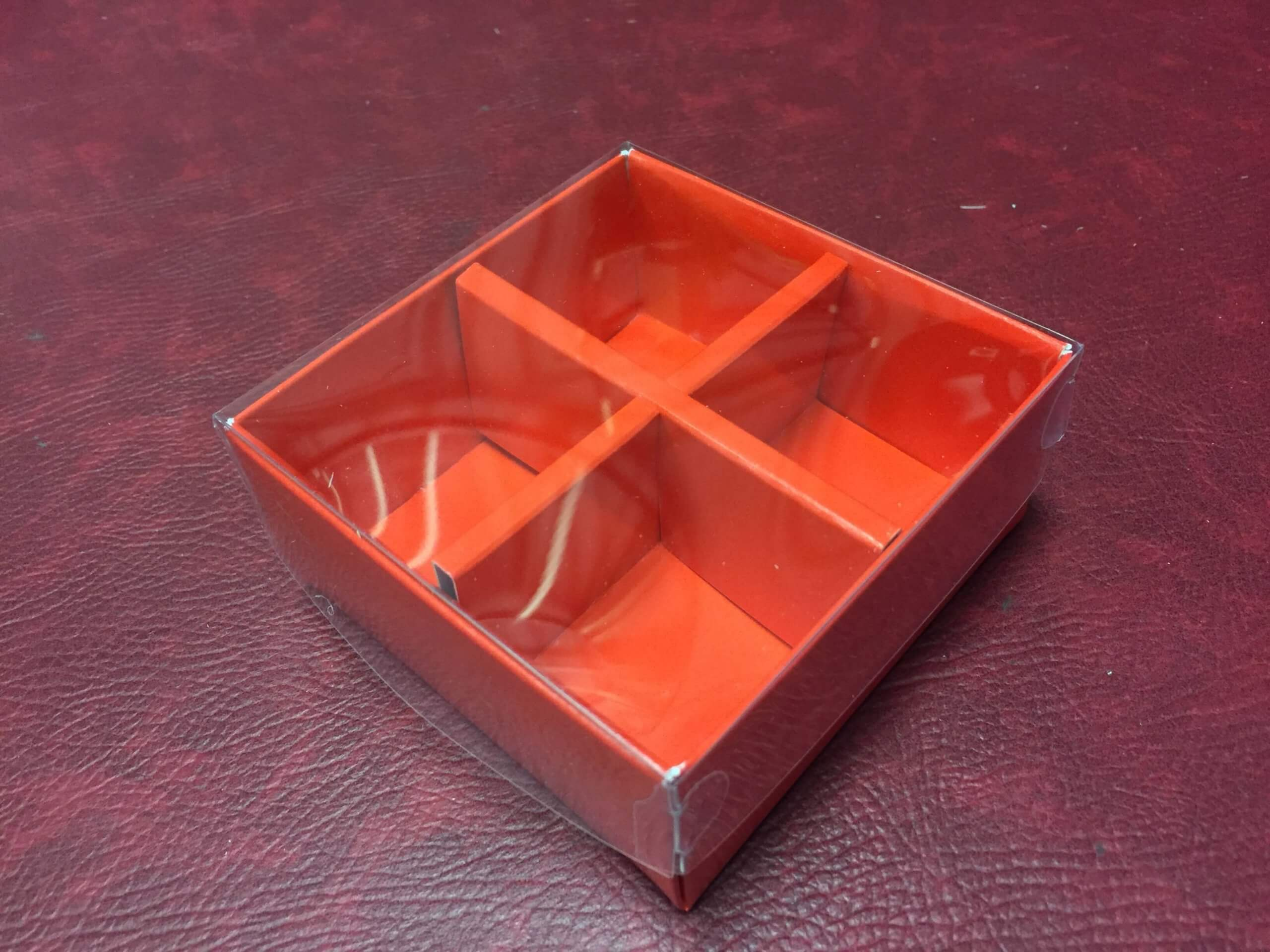 4 Pack Red Base & Insert with Plastic Lid
