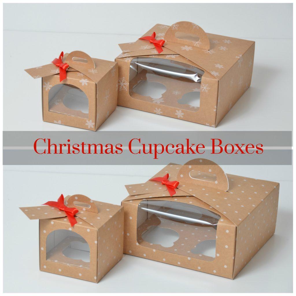 Kraft Christmas Snowflake/Dot Single/4Pk Cup Cake Boxes