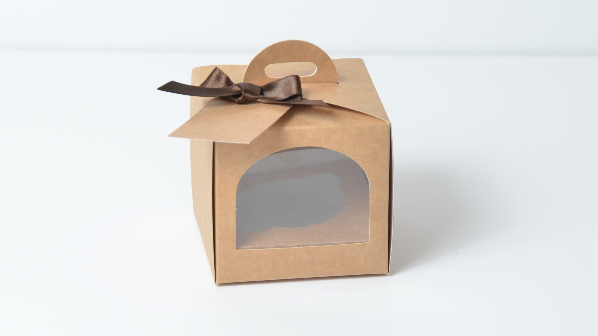 Kraft Single Eco Dome Cup Cake Box with arch window & insert