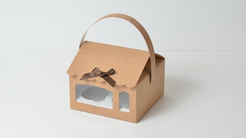 Kraft House Cup Cake Box with 4 Cavity Insert