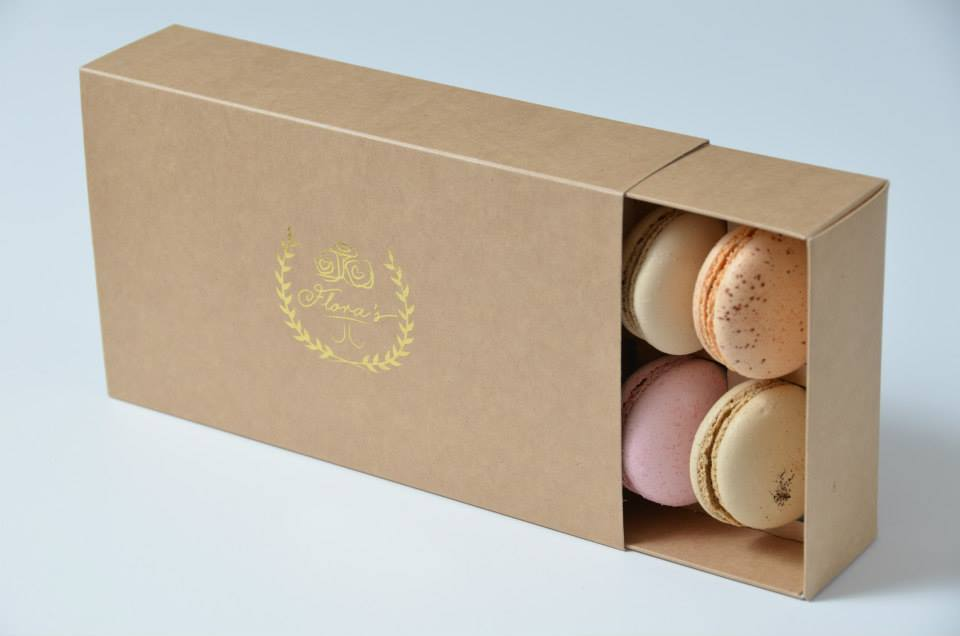 Kraft 12 Pk Slider Foiled Macaron Box
