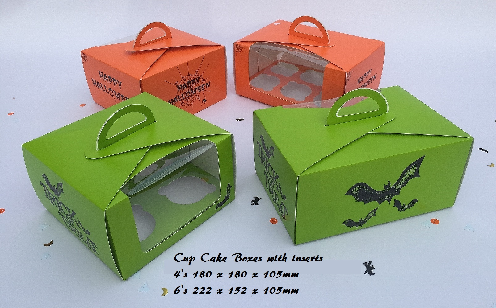 Halloween Print 4 & 6 Pack Cup Cake Boxes with inserts