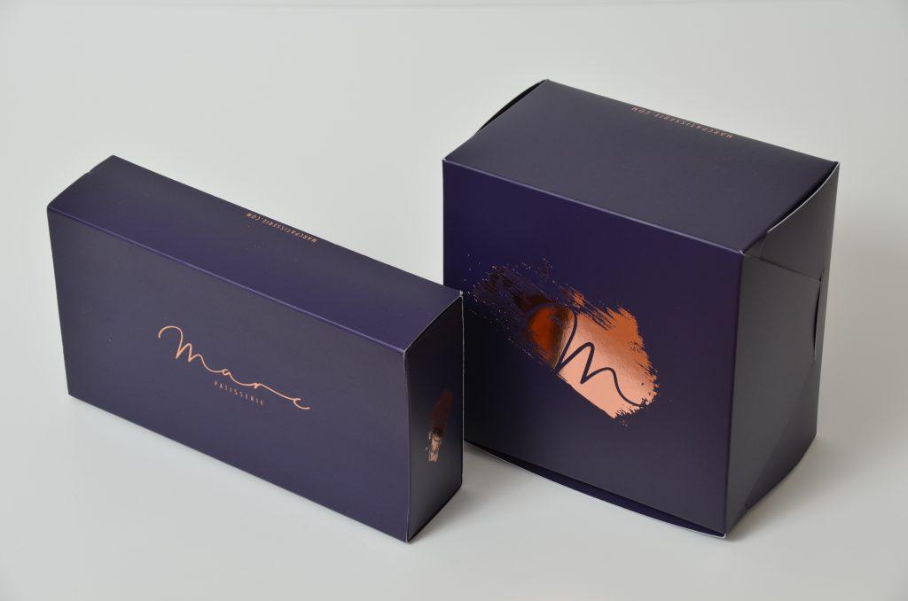 Bespoke Print & Foil 12 Pack Macaron Box and Small Cake Box