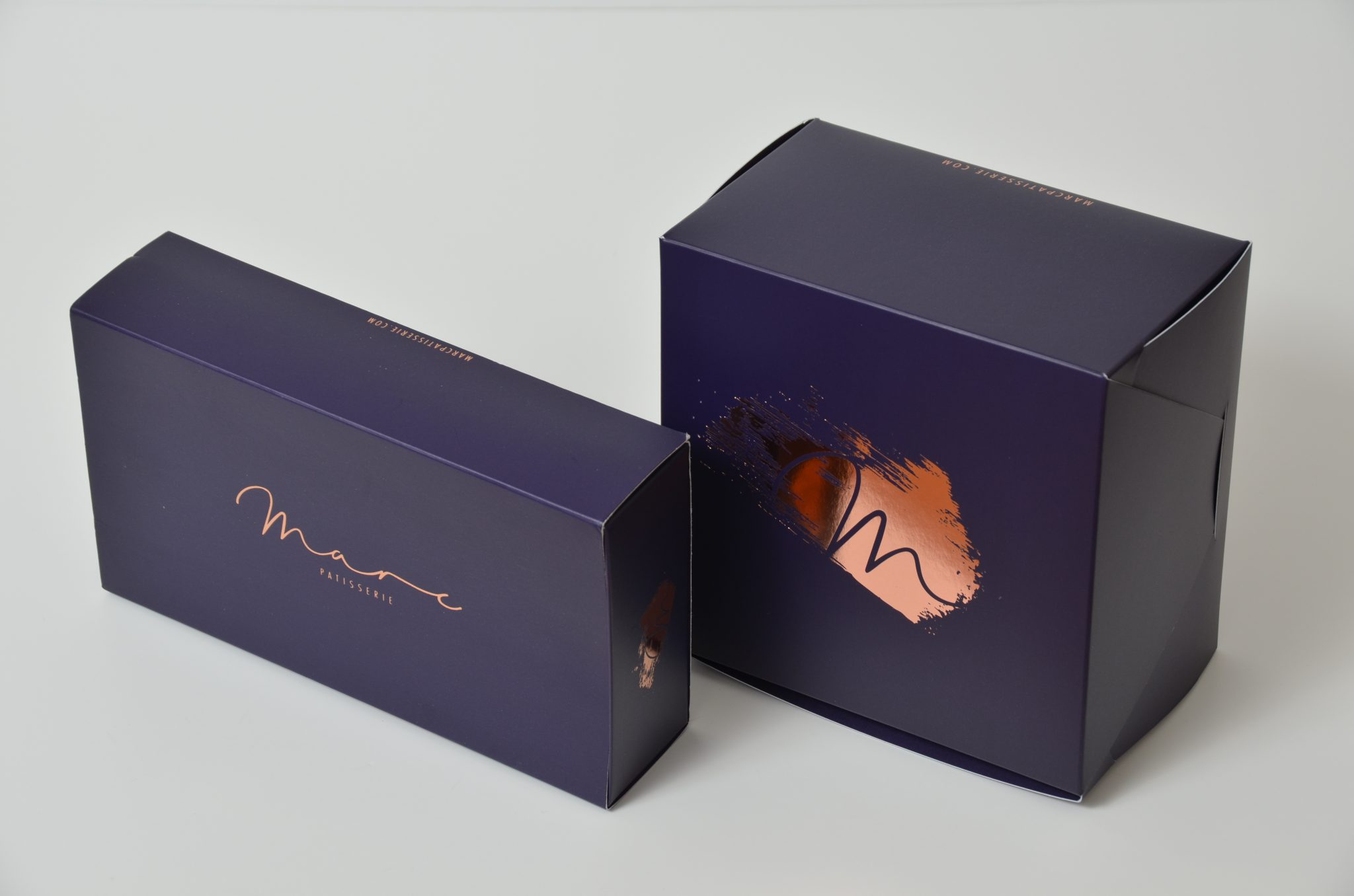 Bespoke Print & Foil 12 Pack Macaron Box and Small Cake Box
