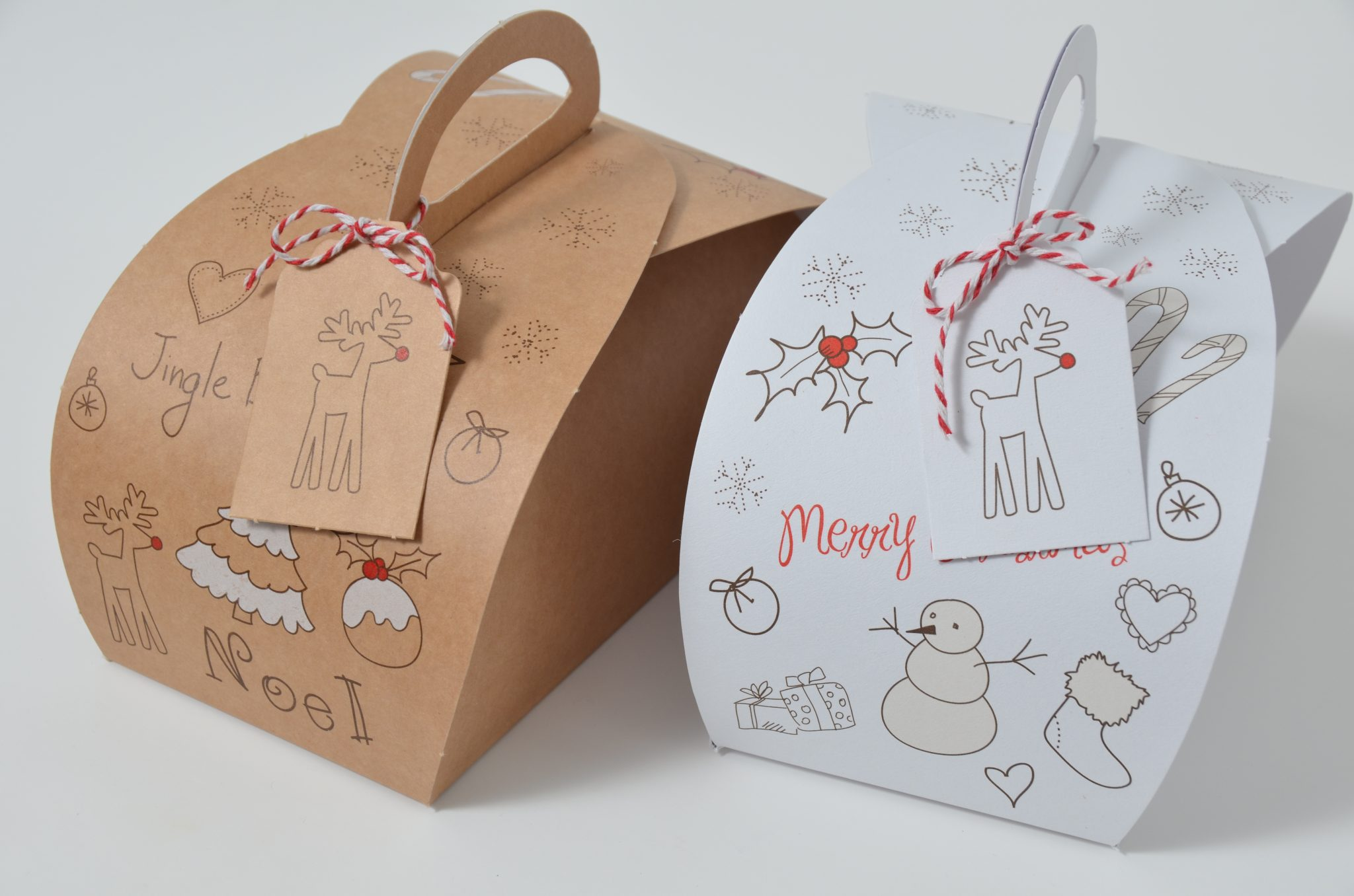 White/Kraft Christmas 2 Pk Patisserie Box & Tag