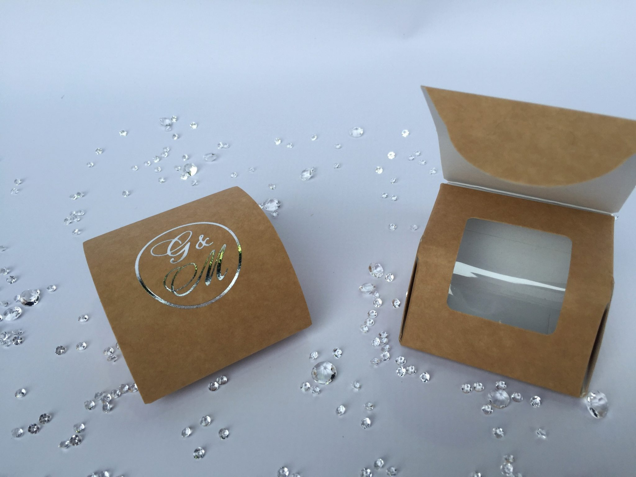 Kraft Concealed Window Favour Box with Foiling